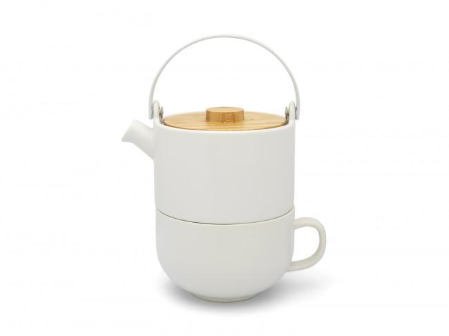 TeaforOne-Set Umea Keramik weiß matt Bamb.