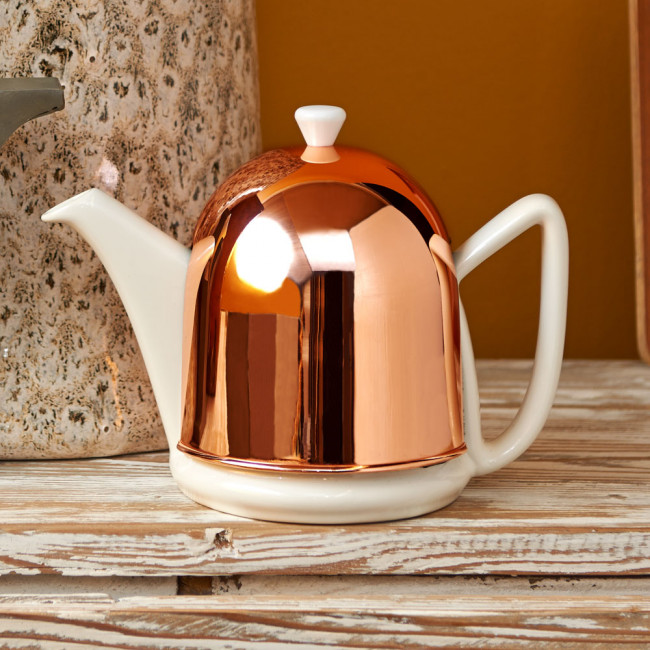 Teekanne Cosy® Manto 1,0L weiß Kupfer-Mantel