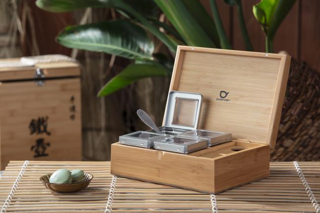 Teebox Bambus mit 4 Teedosen & Messlöffel