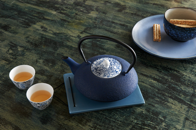 Teekanne Yantai Gusseisen 1,2L blau