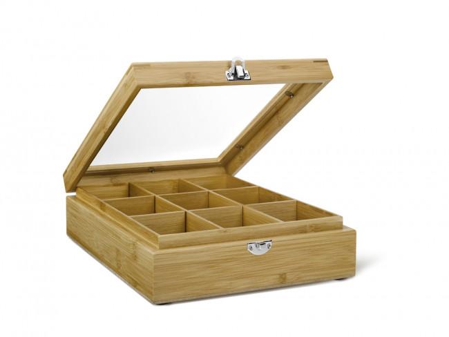Teebeutelbox 9 Fächer mit Fenster Bambus
