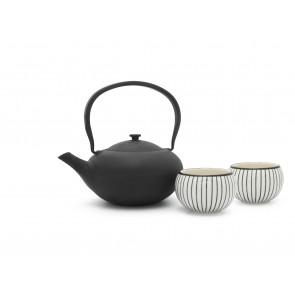 Geschenkset Shanxi, schwarz, mit 2 Porzellan-Becher