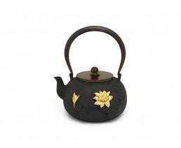 Teekanne Pure Lotus Blume Gusseisen 1,4L rund schwarz gold