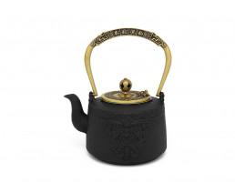 Teekanne Emperor Gusseisen 1,2L konisch schwarz gold