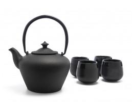 Teekanne Chengdu Gusseisen + 4 Cups schw.