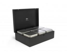 Teebox mit 6 Teedosen, schwarz